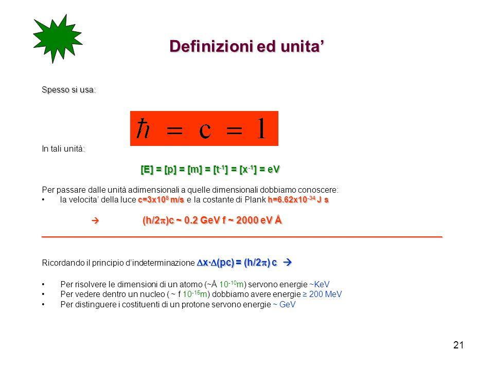 Definizioni ed unita' Spesso si usa: In tali unità: [E] = [p] = [m] = [t-1] = [x-1] = eV.